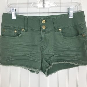 Refuge mid rise jean shorts army green stretch 6